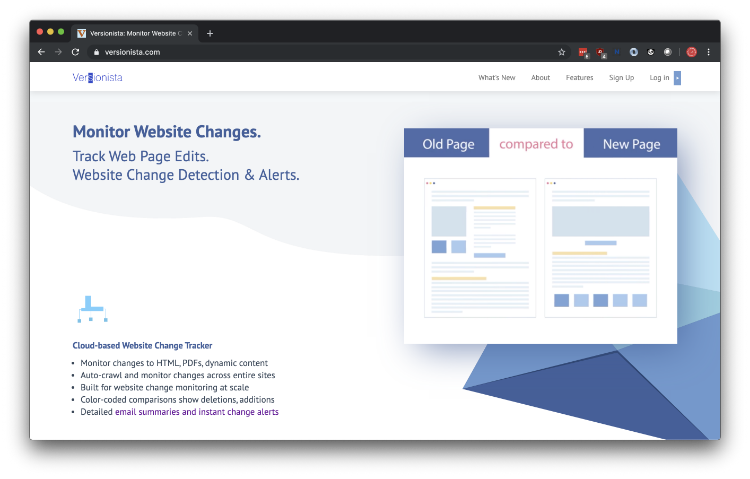 Versionista: Track changes to any Web site